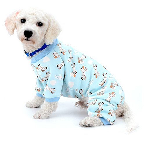 SELMAI Small Dog Cat Winter Pajamas Fleece Lined Zebra Pet Puppy Doggie Indoor Jumpsuit Coat Dachshund Sweater Chihuahua Clothes Outfits Apparel Blue M (Breed Pajamas Dog)