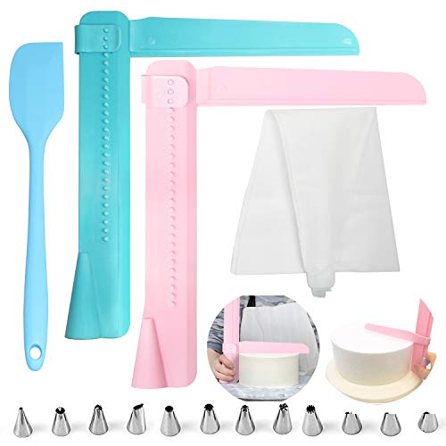 Adjustable Cake Scraper 2Pcs by GNAWRISHIING Baking Cake Smoother Tool set with Cake Spatula Pastry Bag and Tips, One Set Enough for Starting DIY Home or Professional Baking