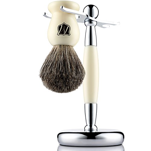 Miusco Pure Badger Hair Shaving Brush and Luxury Stand Shaving Set, Ivory