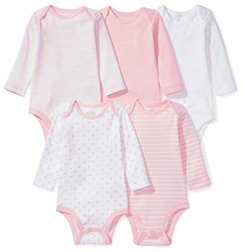 Moon and Back Baby Set Of 5 Organic Long-Sleeve Bodysuits, Pink Blush, 6-9 Months