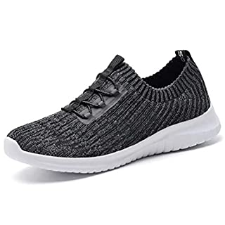 konhill Women's Comfortable Walking Shoes - Tennis Athletic Casual Slip on Sneakers 12 US D.Gray,44