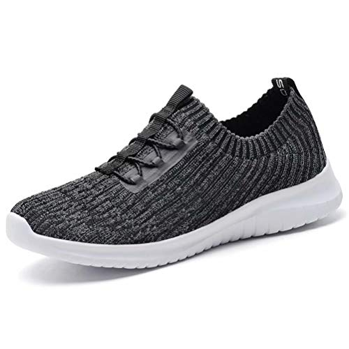 konhill Women's Comfortable Walking Shoes - Tennis Athletic Casual Slip on Sneakers 7.5 US D.Gray,38