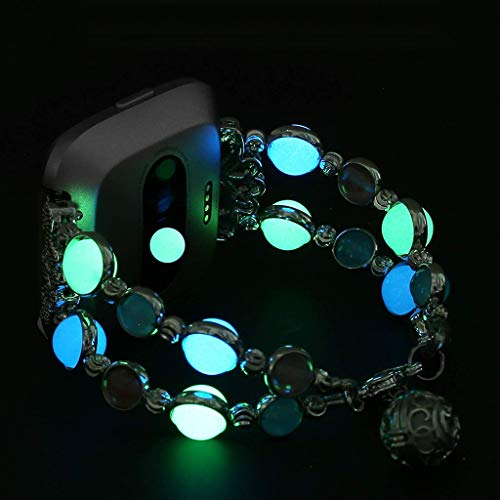 Haluoo Compatible with Fitbit Versa Bands Night Luminous Pearl Bracelet Bangle Glow in Dark Wristband Adjustable Replacement Strap for Fitbit Versa Smartwatch Band (Black)