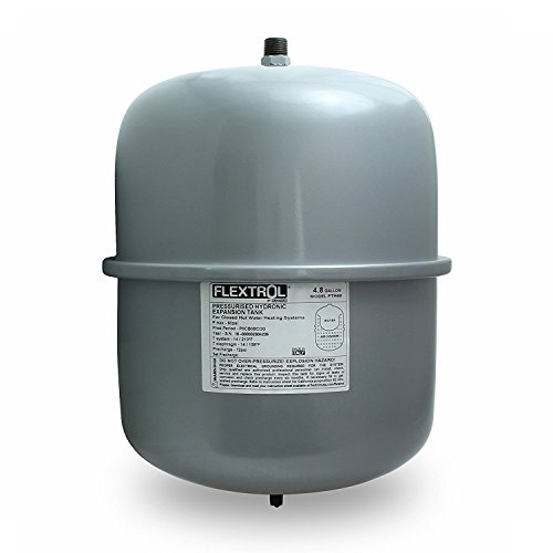 Flextrol FTH30 Pressurized Hydronic Non-Potable Expansion Tank for Closed Hot Water Heating Systems 4.8 Gallons, Boilers, Carbon Steel Shell 3/4 Inch MIP Connection, SBR Synthetic Rubber, Gray Color