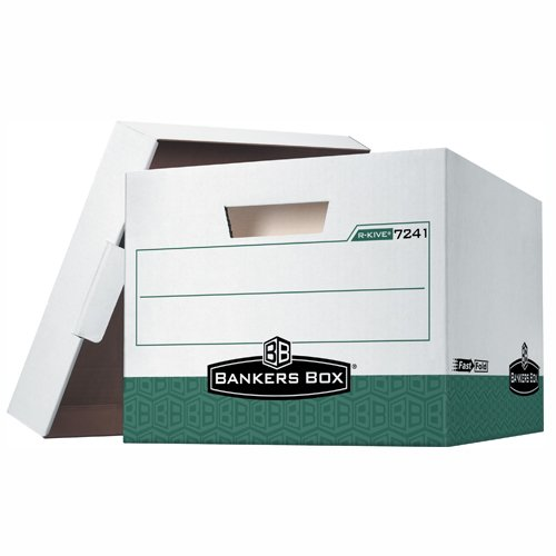 Bankers Box FSB160 R-Kive File Storage Boxes, 15'' x 12'' x 10'', Green (Pack of 12)