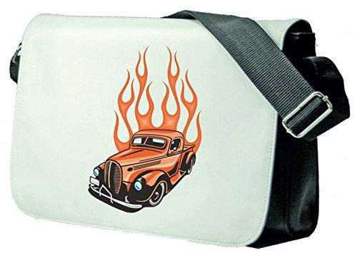Schultertasche Orange Oldtimer bullig mit Flammen America Amy USA Auto Car Luxus Breitbau V8 V12 Motor Felge Tuning Mustang Cobra Schultasche, Schulanfang Schwarz