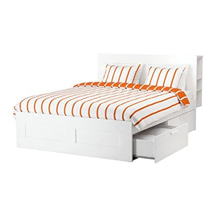 Amazon.com: Ikea Queen size Bed frame with storage & headboard ...
