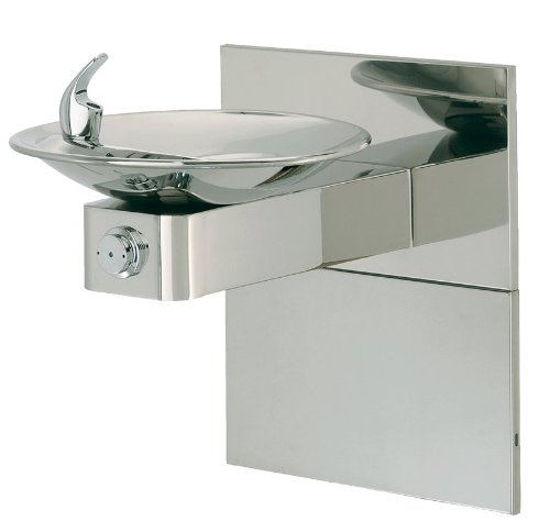 Haws 1001HPSMS High Polished 18 Gauge 304 Stainless Steel Barrier-Free Wall Mounted Drinking Fountain with Sculpted Bowl and Access Panel (Mounting Frame Not Included)