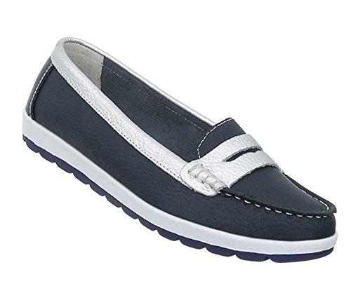 Damen Schuhe Mokassins Mokassins Mokassins Leder Modell Nr.1Dunkelblau 22f677