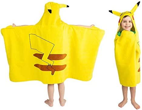"Franco Kids Bath and Beach Soft Cotton Terry Hooded Towel Wrap, 24"" x 50"", Pokemon Pikachu"