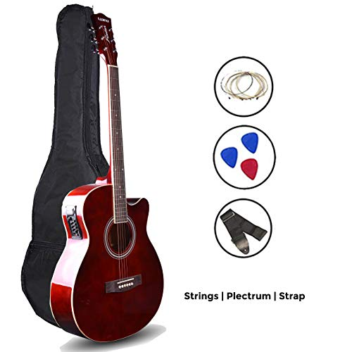 LD Kadence Frontier Series Semi Acoustic Guitar Brown Combo Bag 1 Pack Strings Strap And Picks