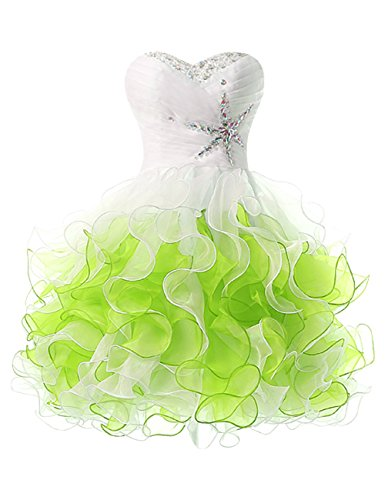 Fluorodine Women's Beaded Sweetheart Ruffle A Line Short Homecoming Prom Dress US16 Lime Green