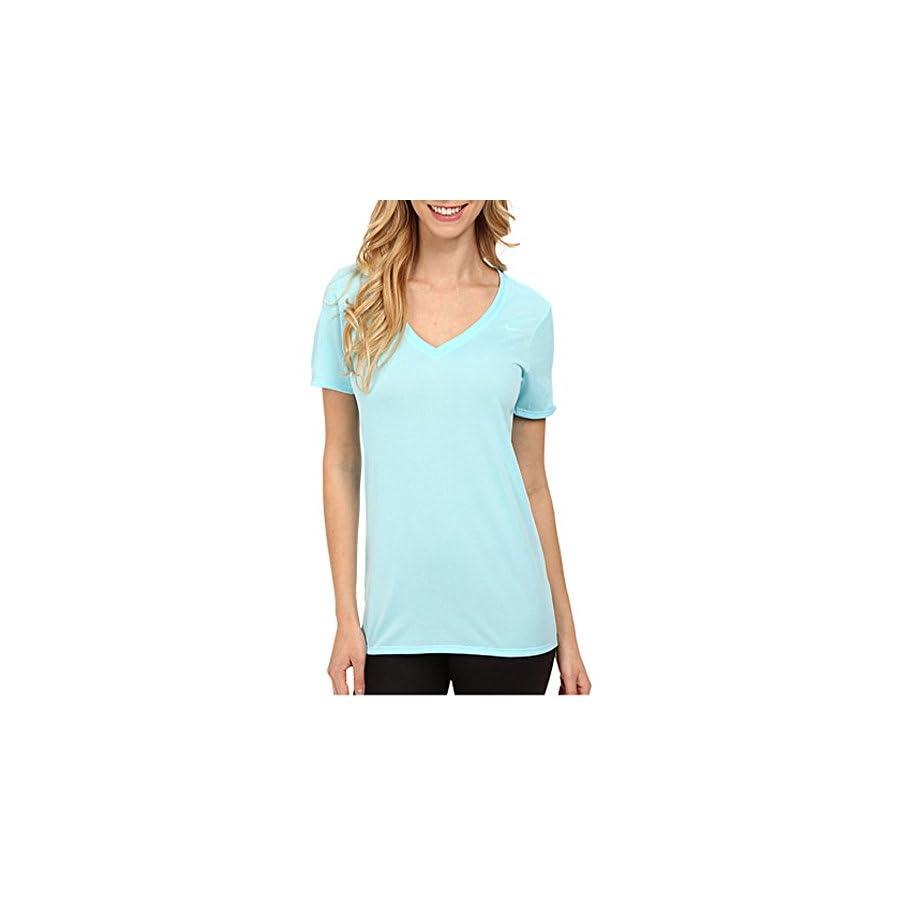 NIKE Womens V Neck Legend Short Sleeve Tshirt (Small, Copa Blue)