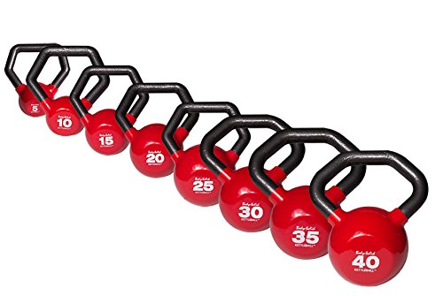 Body-Solid KETTLEBALLS 5-40 lb. Vinyl Dipped Kettlebell Set with Multi-Grip Angled Handles