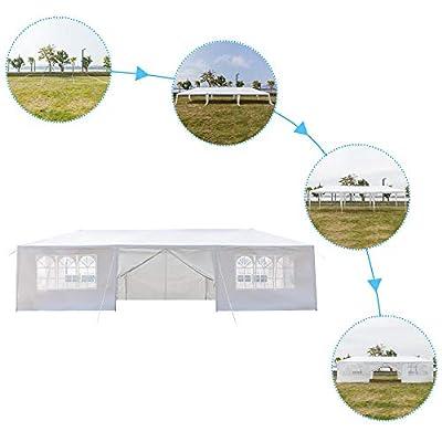 UHBGT Party Tent 10x30ft Heavy Duty Waterproof, Outdoor Canopy Tent with 8 Sides +2Doors + Spiral Tubes, Garden Tent for Patio Wedding Parties BBQ : Garden & Outdoor