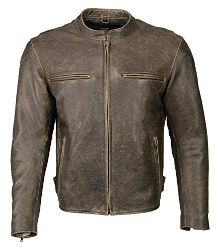 M-Boss-Men's Armored Leather Scooter Jacket -DISTRESS BROWN-2XL