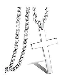 Kamellusone Men Fashion Religion Titanium Steel Cross Pendant Necklace,24inches Chain