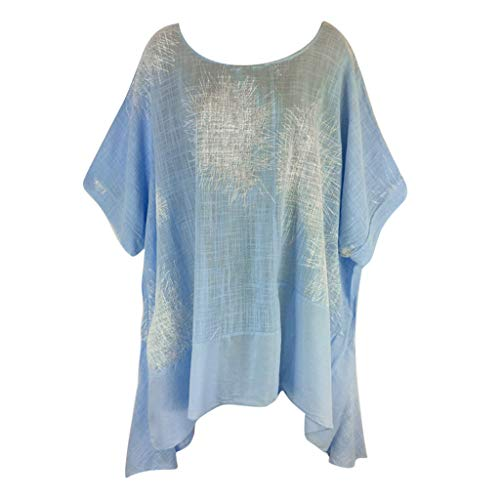 - Willow S Plus Size Women Short Sleeve Round Neck Dandelion Printing Cotton and Linen Loose T-Shirts Tops Blouses Light Blue