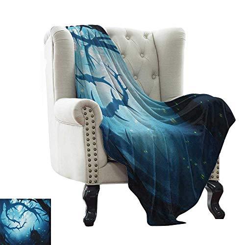 Mystic, Custom Design Cozy Flannel Blanket, Animal with Burning Eyes in The Dark Forest at Night Horror Halloween Illustration, Lightweight Blanket Extra Big, (W90 x L90 Inch Navy White -
