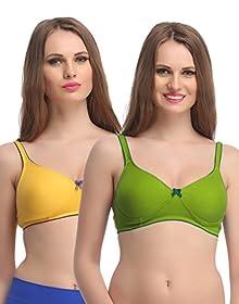 5a8cdcf752f Clovia Women s Pack of 2 Non Padded Full Coverage Bra  (COMBBR677 Multi-Coloured 34B)