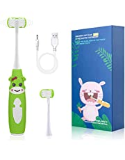 Cellena Kids Electric Toothbrush, U31 Rechargeable Sonic Electronic 3 Sided Toothbrush with Smart Timer, Extra Soft Bristles, 2 Brush Heads