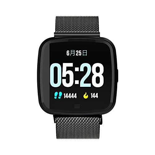 - Sport Smart Watch Square Fitness Tracker Heart Rate Monitor with Metal Shell Metal Band Connect with Bluetooth for Android for iOS Smart Phone(Black)