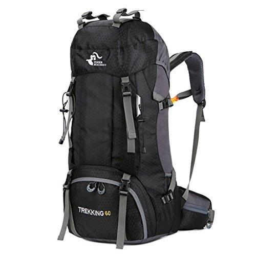 Luckywe sac à dos en sac à dos sports 60L randonnée en plein air avec housse anti-pluie en plein air livre sac de voyage Noir