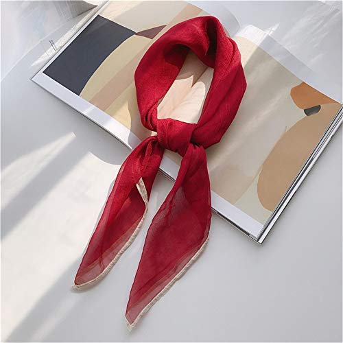 Lym Square Scarf Hair Tie Band For Business Party Women Elegant Small Vintage Skinny Retro Head Neck Silk Satin Scarf LY-4 7575