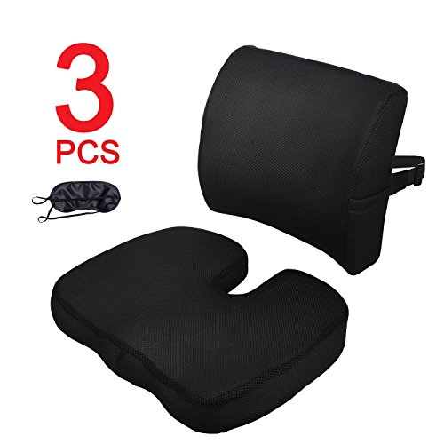 Wheelchair and Home COOL-ESSENTIAL Comfort Air Inflatable Seat Cushion Pain Relief Anti Bedsore for Long-time Sitting Like Office Chair 46 x 41CM with Pump Adjustable Seat Cover Black Car