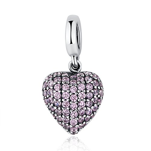 BAMOER 925 Sterling Silver Various Dazzling CZ Bead Charm For Women Snake Bracelet Charm (Dangle Heart) (Victorian Bracelet Style Heart)