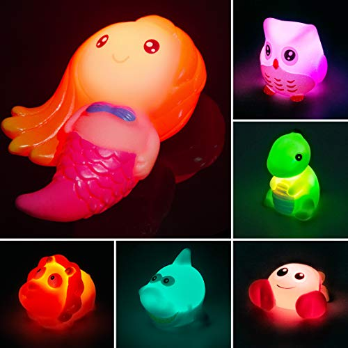 Refasy Baby Bath Toys,Bathtub Toys Light Up Bath Toys for Toddlers Bathtub Shower Games Toys Light Up Floating Rubber Toys Set for Toddlers 1-3 Baby Infant Toy Best Birthday Gifts for Boys Girls