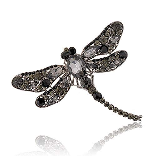Austrian Crystal Dragonfly Pin - AILUOR Multi-Colors Wing Dragonfly Brooch Pin, Austrian Crystal Rhinestone Dragonfly Necklace Women Jewelry Wedding Bouquet Brooch (Black)