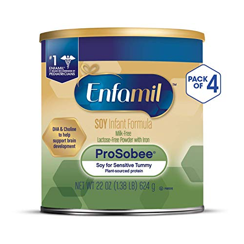 Enfamil ProSobee Soy Sensitive Baby Formula, Dairy-Free Lactose Free Plant Protein Milk Powder, 22 ounce (Pack of 4) - Omega 3 DHA, Iron, Immune & Brain Support (Best Formula Milk For 1 Year Old Baby)