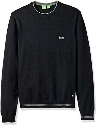 Hugo Boss Boss Green Men's Rime Regular Fit Synthetic Fiber Mix Sweater With Crew Neck, Black, Large Boss Mens Clothing