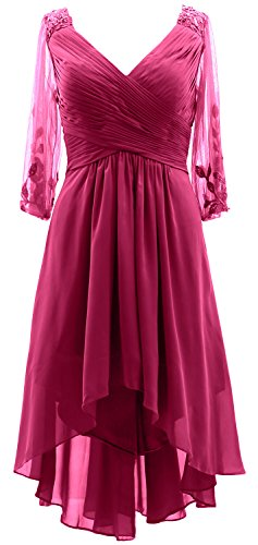Formal 3 Gown lo Of Neck Fuchsia Mother Dress 4 V Hi Women Evening Bride Macloth Sleeves wSqHTIn