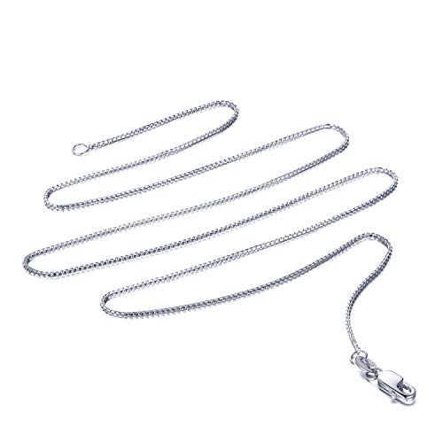 14k Yellow OR White Gold Solid Box Link Chain Necklace with Lobster Claw Clasp (Silver, 24.0)