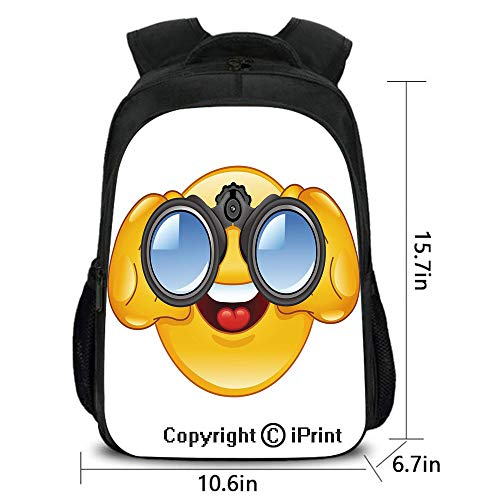 Men's Leisure Backpack,Smiley Face with a Telescope Binoculars Glasses Watching Outside Cartoon Print,School Bag :Suitable for Men and Women,School,Travel,Daily use,etc.Yellow and Blue