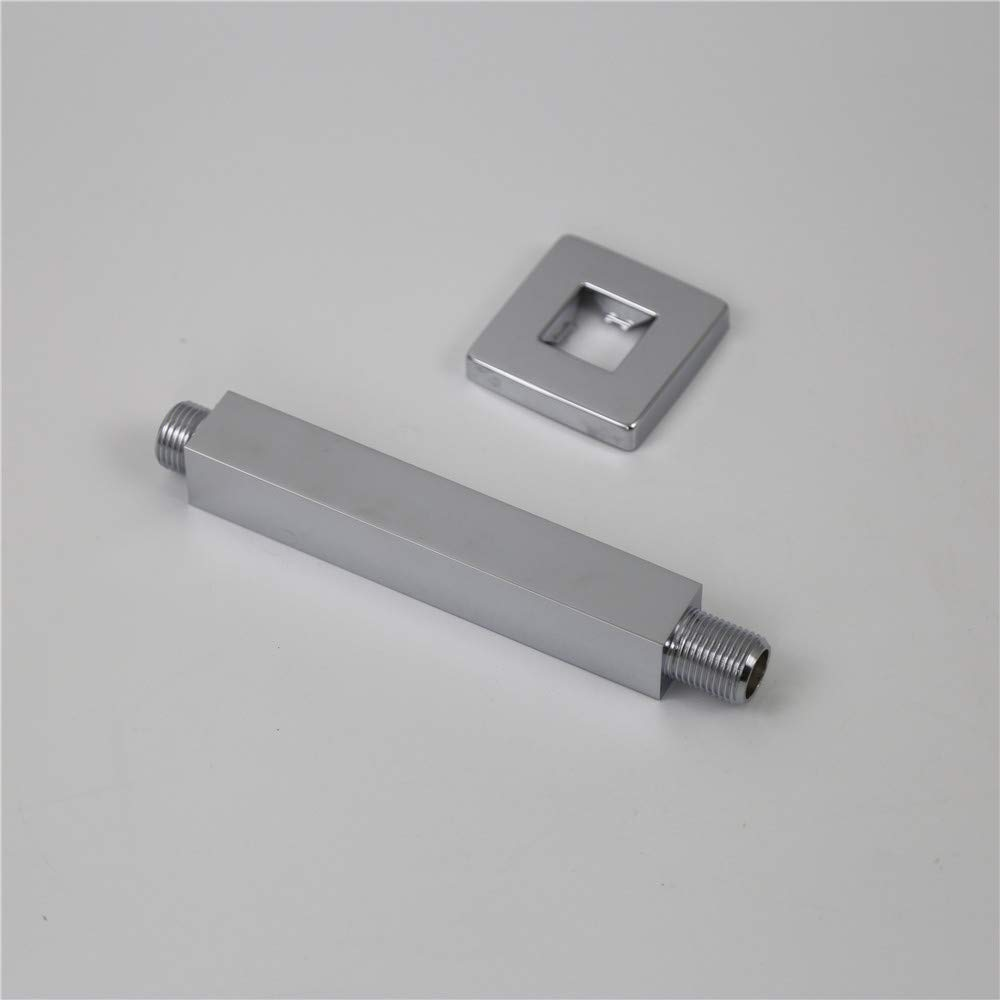 Weirun Bathroom 1//2 NPT All Brass 4-Inch Square Straight Shower Arm with Flange Ceiling Mount,Chrome