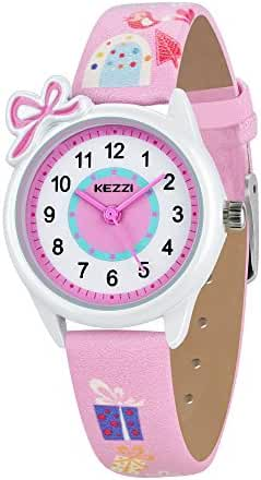 Dovoda Watch for Girls Easy Reader Time Teacher Bows Pink Leather Kids Watches