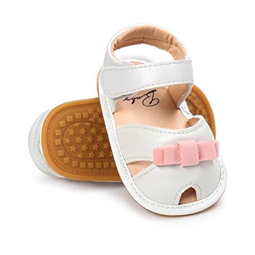 Sandalias De Bebe,BOBORA Prewalker Zapatos Primeros Pasos Para Bebe Bebe Mariposa Nudo PU Cuero Inferior Sandalias blanco