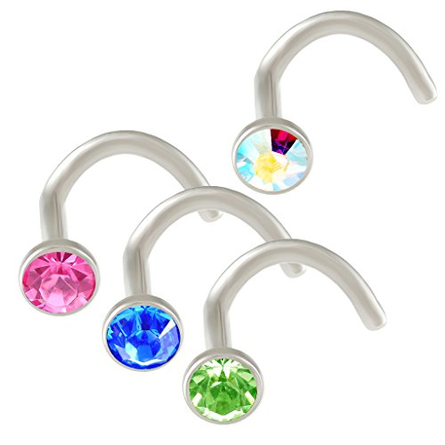 18g nose screw Piercing stainless steel hook bent nostril rings crystals Aurora borealis Rose Sapphire Peridot