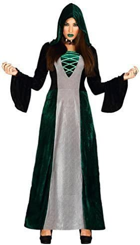 Mujer Largo Verde Gris Medieval Druida Hechicera Bruja Disfraz De ...