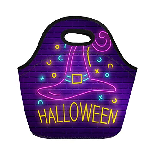 Tinmun Lunch Tote Bag Happy Halloween Neon Sign Bright Light Holiday Party Signboard Reusable Neoprene Bags Insulated Thermal Picnic Handbag for Women Men]()