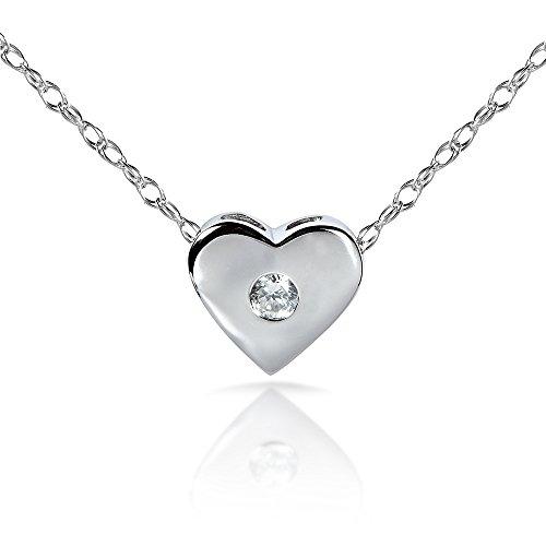 Pendentif Coeur Diamant en platine (45,7cm Chaîne Or 14K)