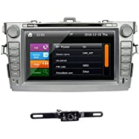 TOCADO Vehicle Backup Camera & In Dash Car DVD Player 8 Touchscreen Double 2Din Car Stereo GPS Navigation CD MP3 DVD for TOYOTA Corolla 2007 2008 2009 2010 2011
