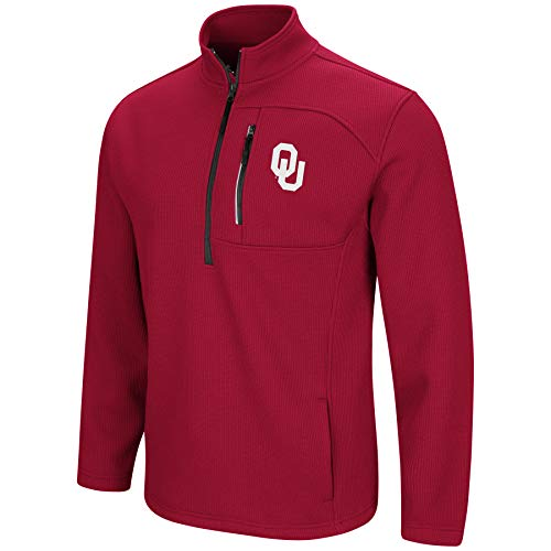 Colosseum Men's NCAA-Townie-1/2 Zip-Corded-Fleece Pullover Jacket-Oklahoma Sooners-Crimson-XXL ()