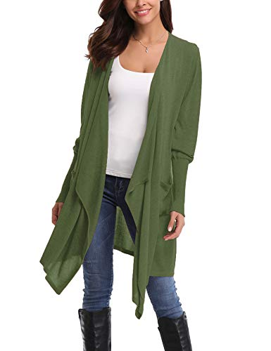 Abollria Cardigans for Women Lightweight Long Sleeve Waterfall Open Front Midi Long Cardigan with Pockets