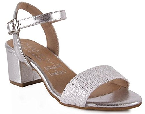 Toe CHAMBY Ankle Block Sandals Strap Leather Womens Peep Comfortable Heels ppxUZYq