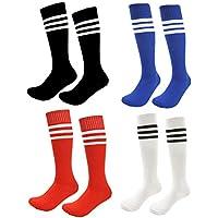 Kids Soccer Socks 4 Pack Boys Girls Cotton Team Socks...