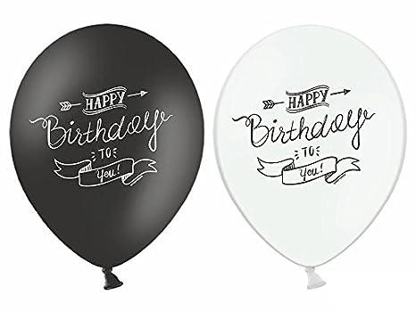 12 Luftballon Happy Birthday Schwarz Weiß Moderne Partydekoration Ballons Geburtstag